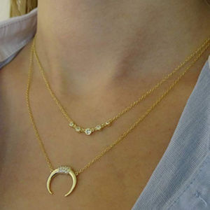 Fettero Moon Necklace, 14k Gold Plated Necklace